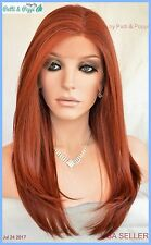 Swiss Lace Front Wig 4X4 Silk Top Hand tied Heat Safe Color 130 Long Thick 1232