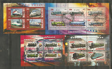 a stock page of 4 cancelled souvenir sheets,Trains, starting with Malawi.