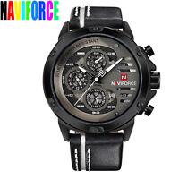 NAVIFORCE Fashion Army Quartz Watch Men Luminous Leather Band Sport Wristwatch