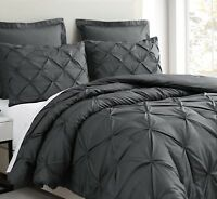Estellar 3pc Charcoal Grey Comforter Set Pinch Pleat Bedding Cover