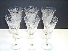"Set of 6 Tiffin Franciscan 2000-3 Etched Poppy Floral 7-5/8"" to 7-3/4"" Goblets"