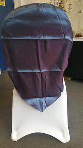 LOT OF 100 BLUE/PURPLE TAFFETA CHAIR COVERS BANQUETING CHAIR CAP WEDDING EVENT