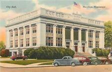 Meridian Mississippi~City Hall~1930-1940s Cars~Postcard