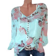 Women Plus Size Top Ladies Long Sleeve Loose Shirt Floral Casual Blouse Fashion