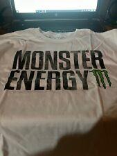 NEW Mens Monster Energy White T-Shirt Short Sleeve XL Tab Redemption