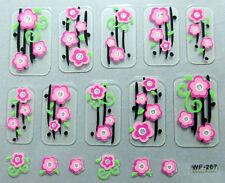 Nail art:10 stickers bijoux d'ongles: Fleurs roses - branches noires et vertes