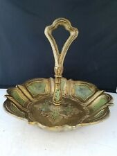 "Florentine Gilt Center Handle Removable Bowl Tray Hand Painted Italy 9""d 8.5""h"
