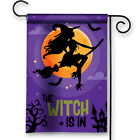 The Witch Is In Witch Riding Bloom Happy Halloween Night Garden Flag Banner