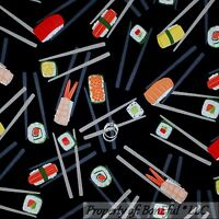 BonEful Fabric FQ Cotton Quilt B&W FISH Asian Food Seafood Sushi Rice Chop Stick
