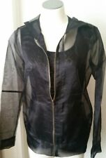 For Love&Liberty Black Sheer Jacket with Butterfly Applique' Zip Front Sz Small