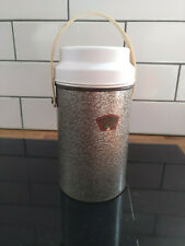 Vintage Metal Thermos Food Flask Glass Inner Silver Grey with Lid / Bowl carrier