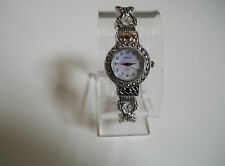 Silver/Black Vintage Style Look  Marcasite Women's Bangle Cuff Fashion  Watch