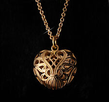 18ct 18k Gold GF Filigree Heart Pendant Necklace 18k gf