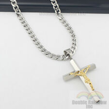 mens 316L stainless steel Silver Gold jesus cross pendant cuban necklace chain 6