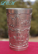 Rare WINNIPEG CANADA pewter ANTIQUE souvenir cup with detailed OLD scenes!