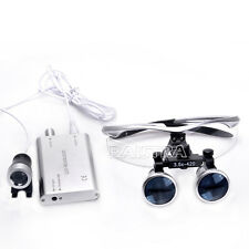 Surgical Dental Medical Binocular Loupe 3.5X + LED Head Light Lamp Silver