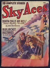 SKY ACES Air-War Pulp Magazine, June 1940, FINE+ Condition