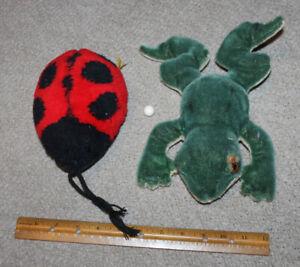 German Steiff Frog Worn & Ladybug Musical Box (Works) Inside Lot