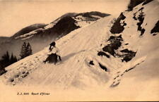 Postcard Winter Sports Woman Sledding Sled JJ 3202 French Jullien Freres
