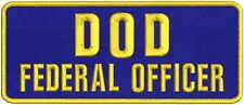 DOD FEDERAL OFFICER 4X10 hook navy background gold letters