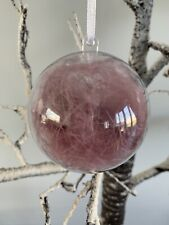 4 Pink/Mauve Feather Christmas Baubles, Boxed Decorations
