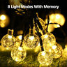 LED Solar Powered Garden Party Fairy String Crystal Ball Christmas Light Outdoor