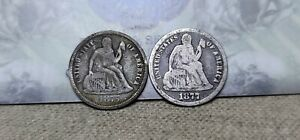 Lot of 2 Seated Liberty Dimes 10c 1875 CC & 1877 CC