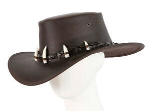 Australian Jacaru Outback Bush Leather Hat with Crocodile Teeth Crocodile Dundee