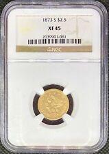 1873-S • $2.5 American Gold Quarter Eagle • Liberty Head • XF45 NGC • RARE Coin!