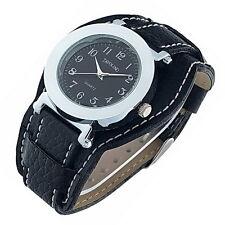 Edle Damenuhr Armbanduhr Silber Leder Schwarz Neu Top Uhr aus Insolvenz