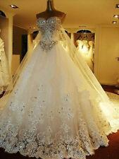 2017 Luxury Bling Bling Crystal Cinderella Princess Bridal Ball Gowns Custom