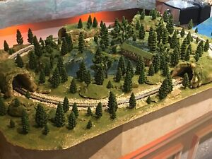 N Scale Layout Scenic Forest ,Lake Display Garden Diorama w/Tracks Oval 24X36""