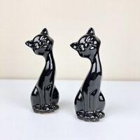 "VTG Set of 2 MCM 6"" Tall Black Cat Figurines Modern Boho Shelf Decor"