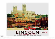 LINCOLN LINCOLNSHIRE RETRO ART VINTAGE RAILWAY TRAVEL POSTER ADVERTISING
