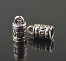 20Pcs Silver End Caps Bead Stopper fit 4mm Cord Bracelet Necklace Making