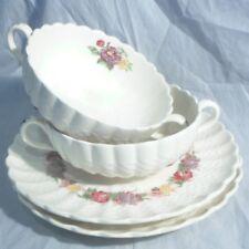 2 Copeland Spode Rose Briar Cream Soup Bowls with Liners