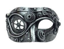 Steampunk Half Eye Mask Adult Gears Robotic Venetian Costume Accessory Silver