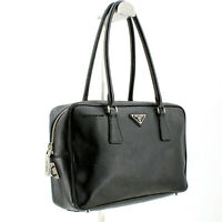 Authentic Prada Lux Saffiano Leather Daino Vitello Top Handle Bag in Black
