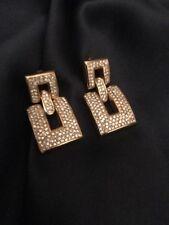 "FAB! Vintage GUY LAROCHE Paris Pave Rhinestone Statement Pierce Earrings 1.5"" L"