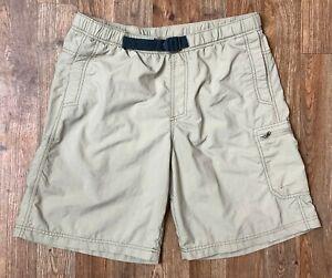 Columbia Mens Belted Tan Swim Trunks w Liner 3 Pocket 1 w Zipper Logo Size M