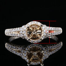 Solid 14K Yellow Gold Diamonds Pave 6 Prong Round Semi Mount Wedding Party Ring