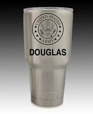 Stainless YETI Rambler 30 oz cup US Army engraved custom personalized gift