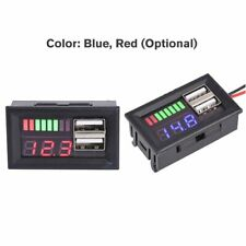 LED Digital Voltmeter Voltage Meter Volt Tester Dual USB 5V 2A For DC 12V Car KW