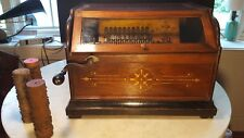 Antique Concert Roller Organ Hand Crank Organette Plays Well + Cobs Patent 1887