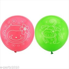 PINK MOD MONKEY LOVE LATEX BALLOONS (6) ~ Birthday Party Supplies Helium Decor