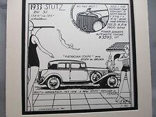 1933 Stutz DV 32   Auto Pen Ink Hand Drawn  Poster Automotive Museum