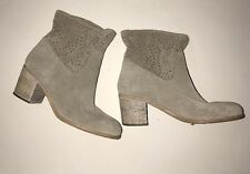 Crown Vintage Suede Leather Perforated  Ankle Boots Sand Sz 9.5 M $149