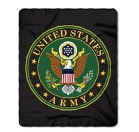 "United States Army Blanket 50"" x 60"" Emblem Seal Logo Fleece Throw Armed Forces"