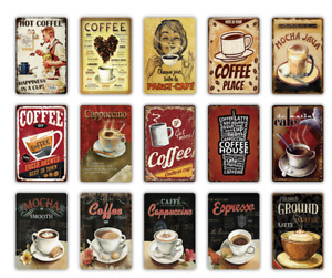 COFFEE BAR Metal Sign Vintage Aluminum Plaque Retro Cafe Kitchen Wall Decor