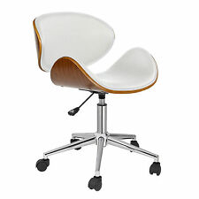 Retro Office Chair White Computer Desk Furniture Task Bar Seat Adjustable Swivel
